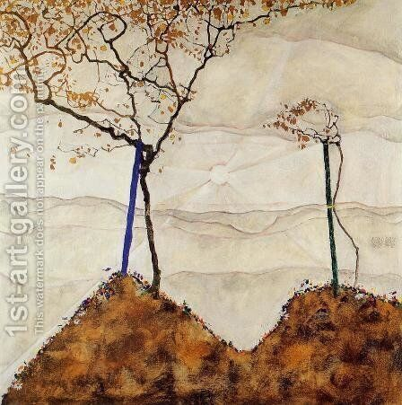 Autumn Sun I by Egon Schiele - Reproduction Oil Painting