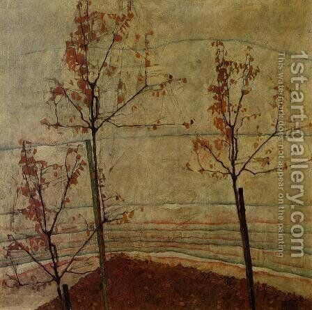 Autumn Trees by Egon Schiele - Reproduction Oil Painting
