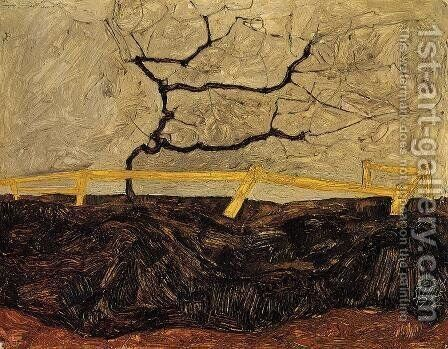 Bare Tree Behind A Fence by Egon Schiele - Reproduction Oil Painting