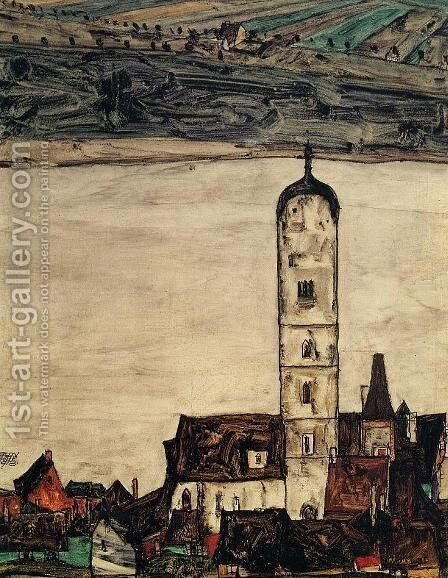 Church In Stein On The Danube by Egon Schiele - Reproduction Oil Painting