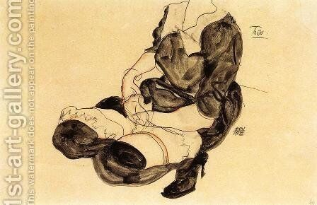 Female Torso  Squatting by Egon Schiele - Reproduction Oil Painting