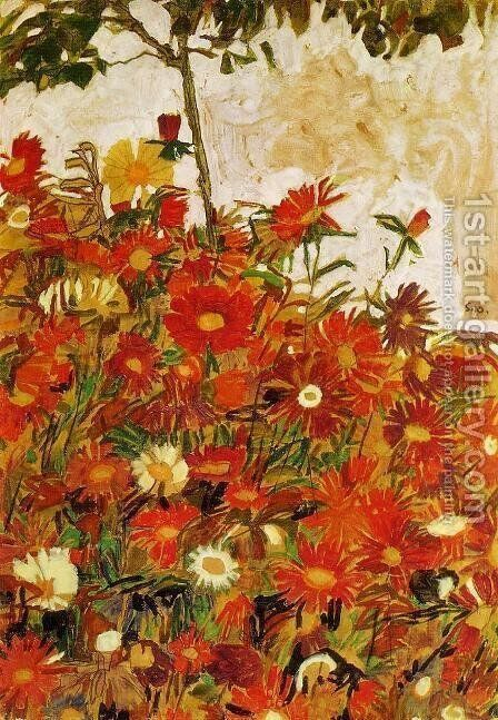 Field Of Flowers by Egon Schiele - Reproduction Oil Painting