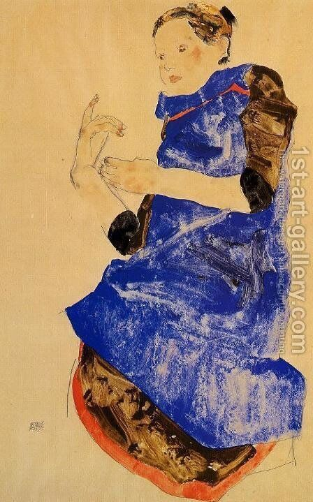 Girl In A Blue Apron by Egon Schiele - Reproduction Oil Painting