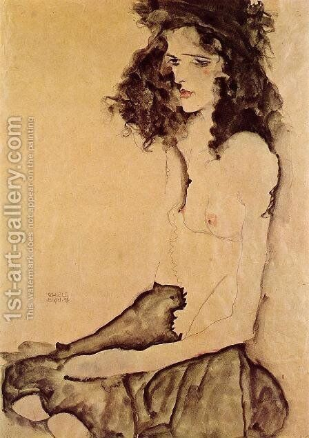 Girl In Black by Egon Schiele - Reproduction Oil Painting