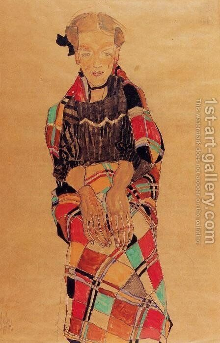 Girl In Black Pinafore  Wrapped In Plaid Blanket by Egon Schiele - Reproduction Oil Painting