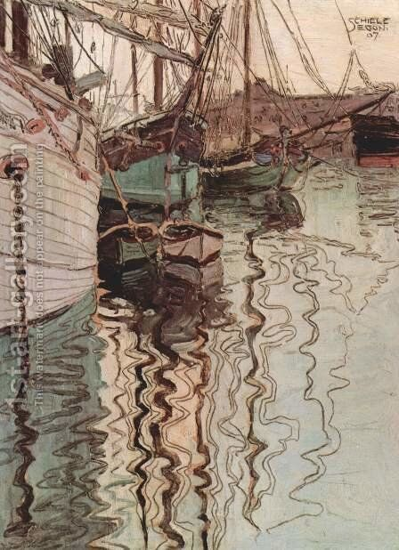 Harbor Of Trieste by Egon Schiele - Reproduction Oil Painting