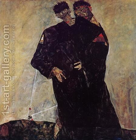 Hermits by Egon Schiele - Reproduction Oil Painting