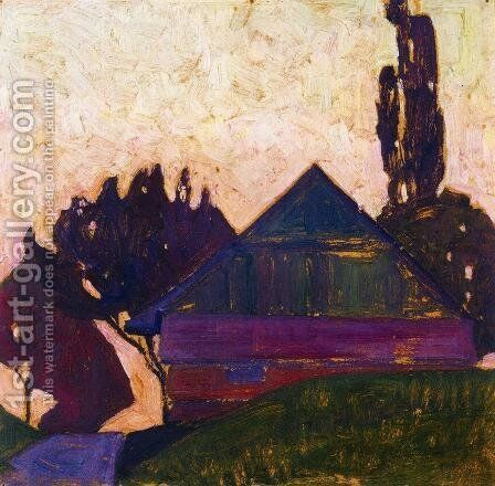 House Between Trees I by Egon Schiele - Reproduction Oil Painting