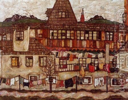 House With Drying Laundry by Egon Schiele - Reproduction Oil Painting
