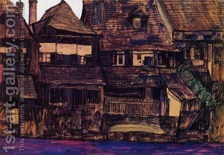 Houses On The Moldau  Krumau by Egon Schiele - Reproduction Oil Painting