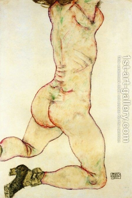 Kneeling Female Nude  Back View by Egon Schiele - Reproduction Oil Painting