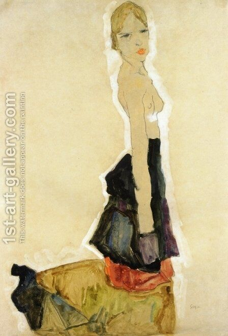 Kneeling Semi Nude by Egon Schiele - Reproduction Oil Painting