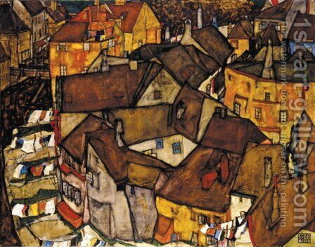 Krumau Town Crescent I by Egon Schiele - Reproduction Oil Painting
