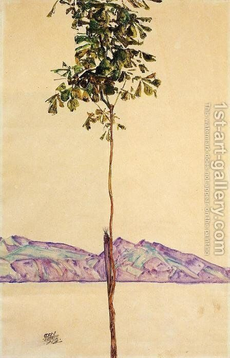 Little Tree Aka Chestnut Tree At Lake Constance by Egon Schiele - Reproduction Oil Painting