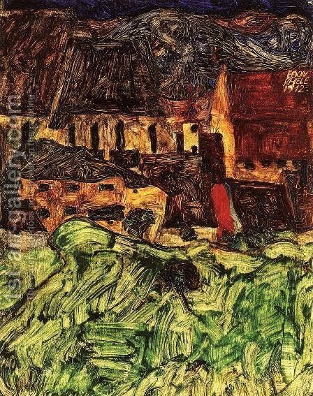 Meadow  Church And Houses by Egon Schiele - Reproduction Oil Painting