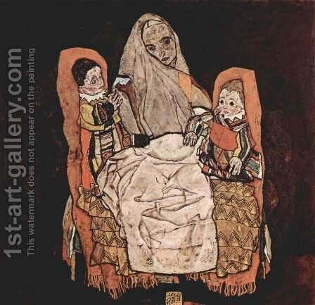 Mother With Two Children by Egon Schiele - Reproduction Oil Painting