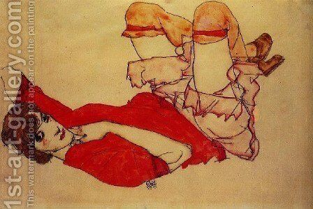 Wally with a Red Blouse 1913 by Egon Schiele - Reproduction Oil Painting