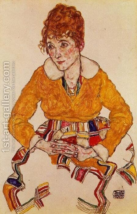 Portrait Of The Artists Wife by Egon Schiele - Reproduction Oil Painting