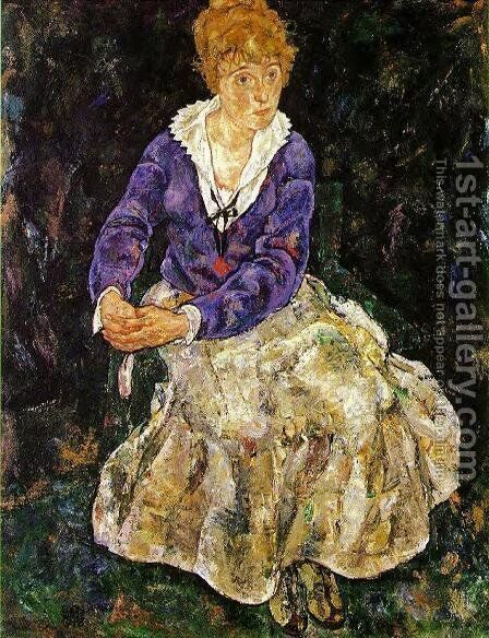 Portrait Of The Artists Wife  Seated by Egon Schiele - Reproduction Oil Painting