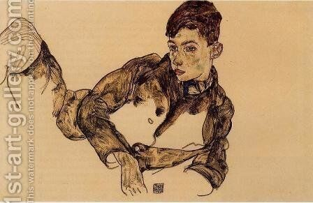 Reclining Boy Leaning On His Elbow by Egon Schiele - Reproduction Oil Painting