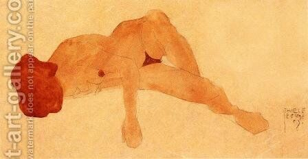 Reclining Female Nude by Egon Schiele - Reproduction Oil Painting