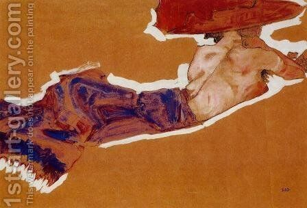 Reclining Semi Nude With Red Hat by Egon Schiele - Reproduction Oil Painting