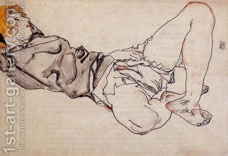 Reclining Woman With Blond Hair2 by Egon Schiele - Reproduction Oil Painting