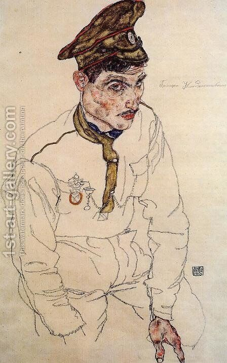 Russian Prisoner Of War Aka Grigori Kladjishuli by Egon Schiele - Reproduction Oil Painting