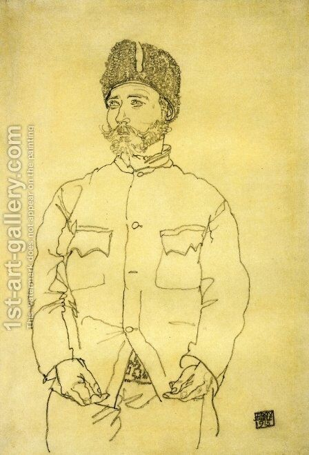 Russian Prisoner Of War With Fur Hat by Egon Schiele - Reproduction Oil Painting