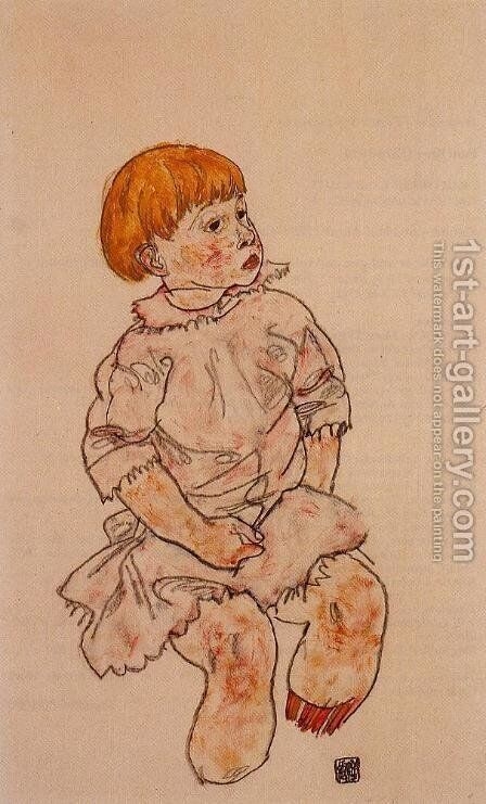 Seated Child Anton Prschka  Jr by Egon Schiele - Reproduction Oil Painting
