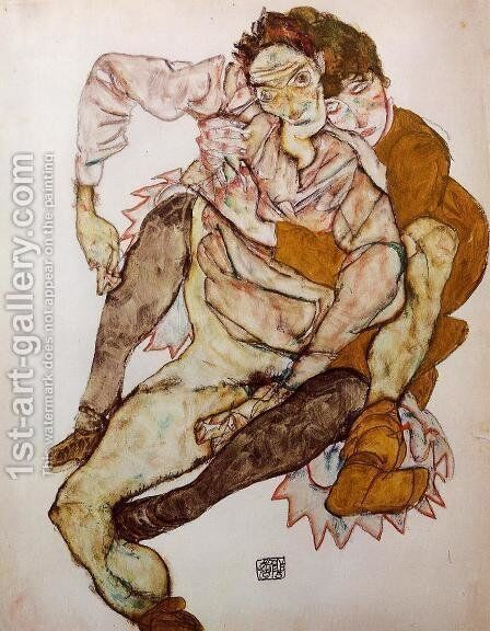 Seated Couple Aka Egon And Edith Schiele by Egon Schiele - Reproduction Oil Painting