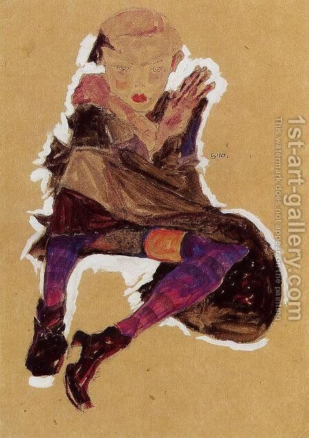 Seated Young Girl by Egon Schiele - Reproduction Oil Painting
