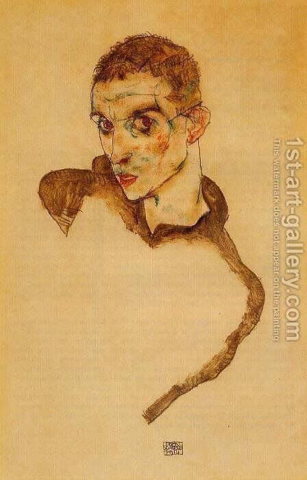 Self Portrait by Egon Schiele - Reproduction Oil Painting