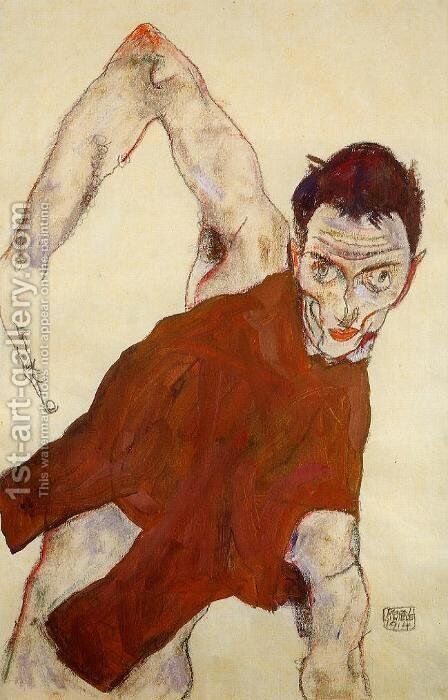 Self Portrait In Jerkin With Right Elbow Raised by Egon Schiele - Reproduction Oil Painting