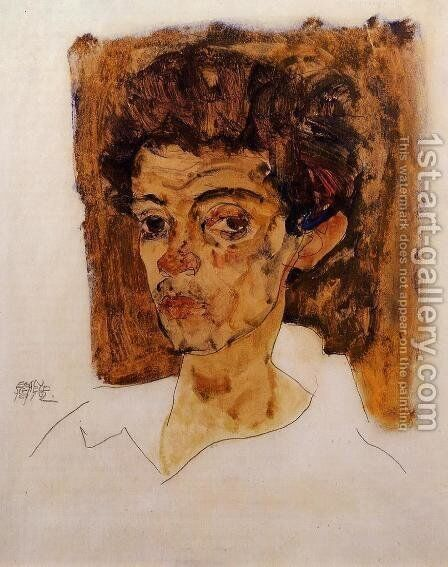 Self Portrait With Brown Background by Egon Schiele - Reproduction Oil Painting