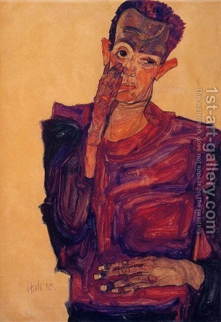 Self Portrait With Hand To Cheek by Egon Schiele - Reproduction Oil Painting