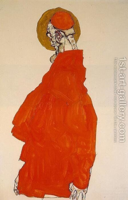 Standing Figure With Halo by Egon Schiele - Reproduction Oil Painting