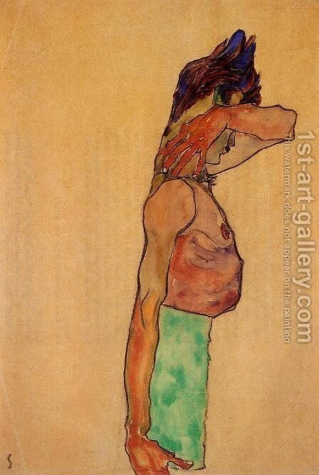 Standing Male Nude by Egon Schiele - Reproduction Oil Painting