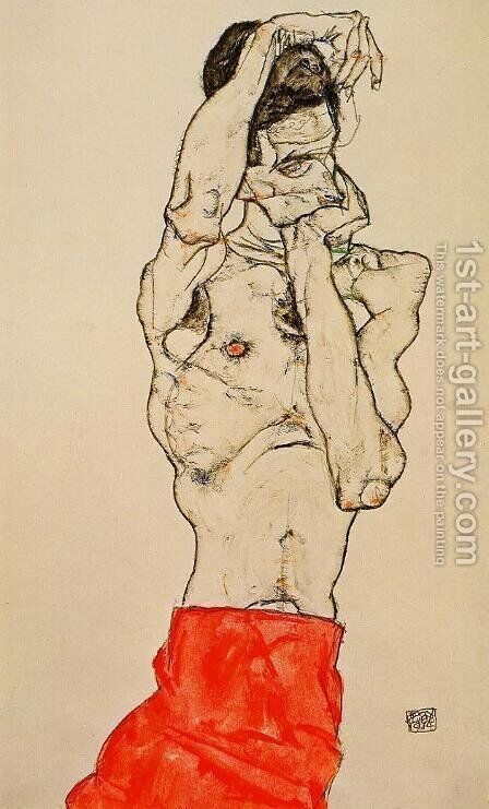 Standing Male Nude With A Red Loincloth by Egon Schiele - Reproduction Oil Painting