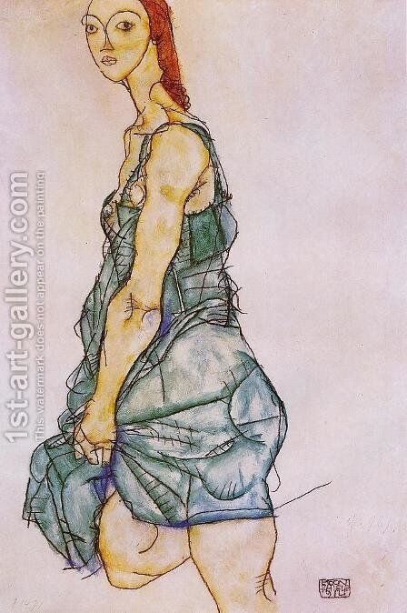 Standing Woman In A Green Skirt by Egon Schiele - Reproduction Oil Painting