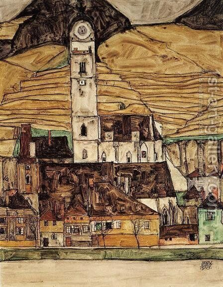 Stein On The Danube by Egon Schiele - Reproduction Oil Painting