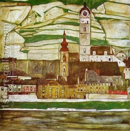 Stein On The Danube With Terraced Vineyards by Egon Schiele - Reproduction Oil Painting