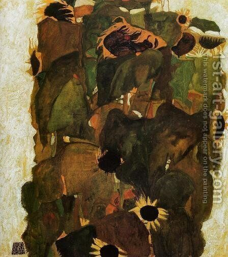 Sunflowers by Egon Schiele - Reproduction Oil Painting