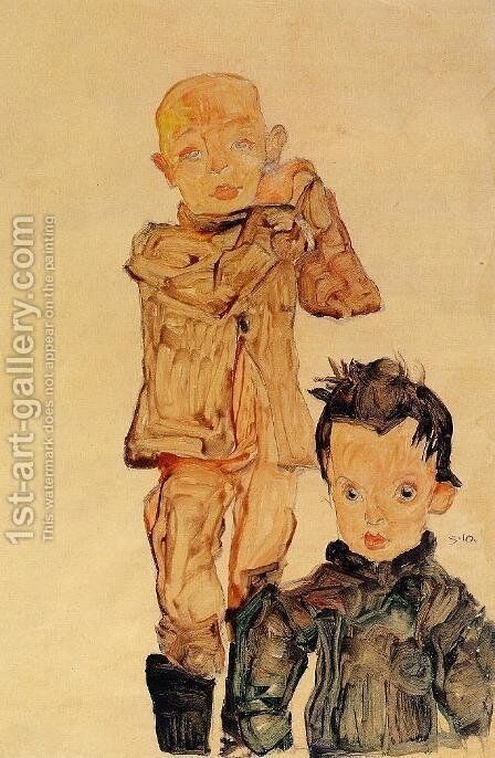 Two Boys by Egon Schiele - Reproduction Oil Painting