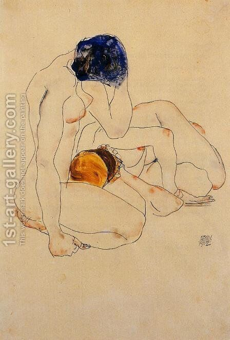Two Friends by Egon Schiele - Reproduction Oil Painting