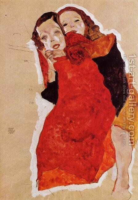 Two Girls by Egon Schiele - Reproduction Oil Painting