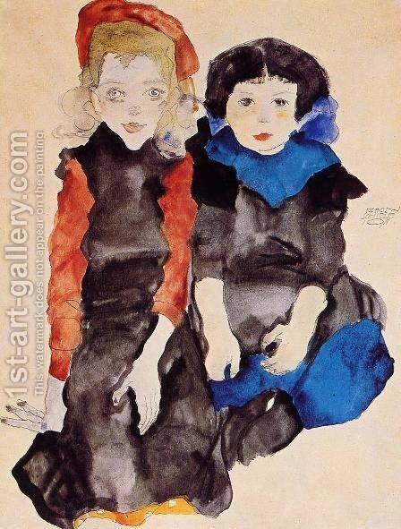 Two Little Girls by Egon Schiele - Reproduction Oil Painting