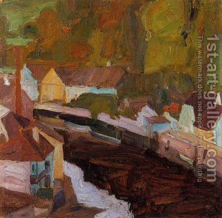 Village By The River II by Egon Schiele - Reproduction Oil Painting