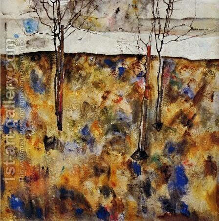Winter Trees by Egon Schiele - Reproduction Oil Painting