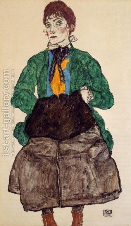 Woman In A Green Blouse And Muff by Egon Schiele - Reproduction Oil Painting